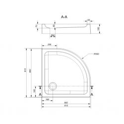 CERSANIT - Sprchová vanička TAKO 80x16, čtvrtkruh, BUILT-IN-PANEL CW (S204-003), fotografie 2/2