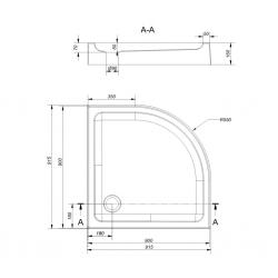 CERSANIT - Sprchová vanička TAKO 90x16, čtvrtkruh, BUILT-IN-PANEL CW (S204-004), fotografie 2/2