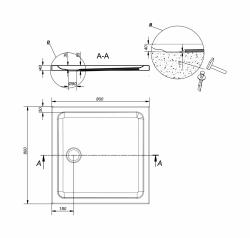 CERSANIT - Sprchová vanička TAKO 80x4, čtverec CW (S204-009), fotografie 4/2