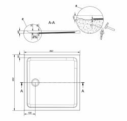 CERSANIT - Sprchová vanička TAKO 90x4, čtverec CW (S204-010), fotografie 4/2