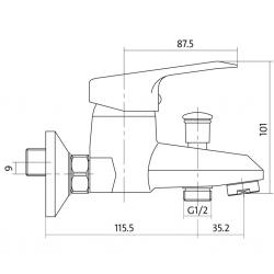 CERSANIT - Vanová baterie AMET jednopáková, nástěnná,  s pevným výtokovým ramínkem, s přepínačem, CHROM (S951-003), fotografie 4/3