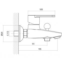 CERSANIT - Vanová baterie CARI jednopáková, nástěnná,  s pevným výtokovým ramínkem, s přepínačem, CHROM (S951-002), fotografie 4/3