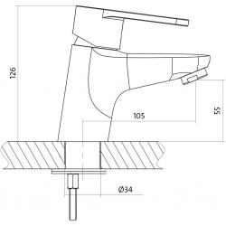 CERSANIT - Umyvadlová baterie CARI jednopáková, jednootvorová, stojánková, s pevným výtokovým ramínkem, CHROM, s výpustí plastovou (S951-040), fotografie 4/3