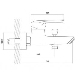 CERSANIT - Vanová baterie AVEDO jednopáková, nástěnná,  s pevným výtokovým ramínkem, s přepínačem, CHROM S951-014, fotografie 4/3