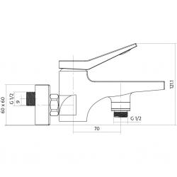 CERSANIT - Vanová baterie CROMO jednopáková, nástěnná,  s pevným výtokovým ramínkem, s přepínačem, CHROM (S951-011), fotografie 4/2
