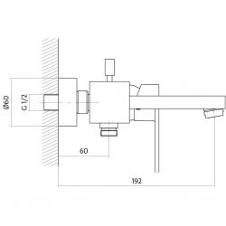 CERSANIT - Vanová baterie ELIO jednopáková, nástěnná, s pevným výtokovým ramínkem, s přepínačem, CHROM (S951-007), fotografie 4/3