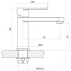 CERSANIT - Umyvadlová baterie ELIO jednopáková, jednootvorová, stojánková, s pevným výtokovým ramínkem, CHROM, s výpustí kovovou (S951-046), fotografie 4/3
