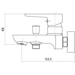 CERSANIT - Vanová baterie MILLE jednopáková, nástěnná,  s pevným výtokovým ramínkem, s přepínačem, CHROM (S951-006), fotografie 4/2