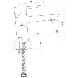 CERSANIT - Umyvadlová baterie MILLE jednopáková, jednootvorová, stojánková, s pevným výtokovým ramínkem, CHROM, s výpustí kovovou (S951-045), fotografie 4/3