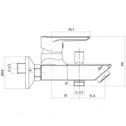 CERSANIT - Vanová baterie VERO jednopáková, nástěnná,  s pevným výtokovým ramínkem, s přepínačem, CHROM (S951-004), fotografie 4/3