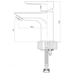 CERSANIT - Umyvadlová baterie VERO jednopáková, jednootvorová, stojánková, s pevným výtokovým ramínkem, CHROM, s výpustí kovovou (S951-042), fotografie 4/3