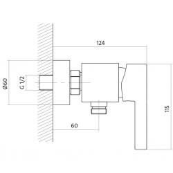 CERSANIT - Sprchová baterie LUVIO jednopáková, nástěnná, bez přepínače, CHROM (S951-037), fotografie 4/2