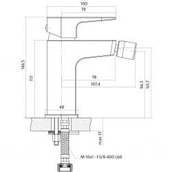 CERSANIT - Bidetová baterie VIGO jednopáková, jednootvorová, stojánková, bez přepínače, CHROM (S951-015), fotografie 4/4