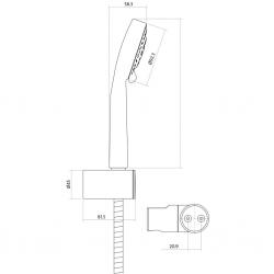 CERSANIT - Sprchová souprava s bodovým držákem LANO, 5 funkční, průměr ruční sprchy 8,5cm, kovová hadice dlouhá 150cm, s bodovým držákem a montážní sadou (S951-022), fotografie 2/2