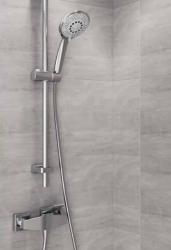 CERSANIT - Sprchová souprava s tyčí a posuvným držákem SENTI, 5 funkční, průměr ruční sprchy 12cm, hadice z PVC dlouhá 200cm, kovová tyč 80cm s posuvným držákem a montážní sadou (S951-020), fotografie 6/3