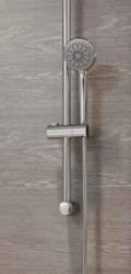 CERSANIT - Sprchová souprava s tyčí a posuvným držákem VIBE, 3 funkční, průměr ruční sprchy 8,5cm, kovová hadice dlouhá 150cm, kovová tyč 70cm s posuvným držákem a montážní sadou (S951-021), fotografie 6/3