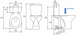 CERSANIT - WC KOMBI MÍSA PRESIDENT P020/021, VERTIKÁLNÍ (K08-017-PP), fotografie 2/1