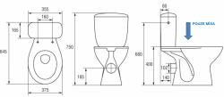 CERSANIT - WC KOMBI MÍSA PRESIDENT P010/011, HORIZONTÁLNÍ (K08-016-PP), fotografie 2/1