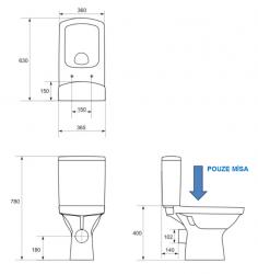 CERSANIT - WC KOMBI MÍSA EASY EA010 (K102-001-EX1), fotografie 2/1