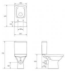 CERSANIT - WC KOMBI 606 EASY NEW CLEANON 011 3/5 BEZ SEDÁTKA BOX  (K102-030), fotografie 16/8