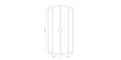 CERSANIT - Sprchový kout čtvrtkruh 80 x190, R55, posuv, čiré sklo (S154-001), fotografie 2/5