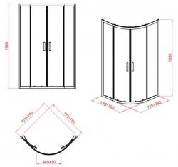 CERSANIT - Sprchový kout čtvrtkruh 80 x190, R55, posuv, čiré sklo (S154-001), fotografie 10/5