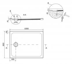 CERSANIT - Sprchová vanička TAKO 100x80x4, obdélník CW (S204-019), fotografie 4/2