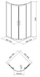 CERSANIT - Sprchový kout BASIC čtvrtkruh 90x185, posuv, čiré sklo (S158-005), fotografie 4/2