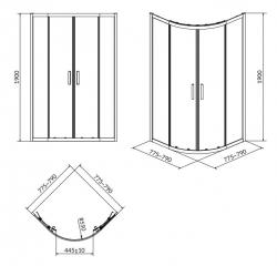 CERSANIT - Sprchový kout ARTECO čtvrtkruh 80x190, posuv, čiré sklo (S157-001), fotografie 6/4