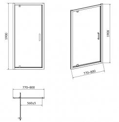 CERSANIT - Sprchové dveře ARTECO 80x190, kyvné, čiré sklo (S157-007), fotografie 6/3