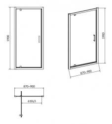 CERSANIT - Sprchové dveře ARTECO 90x190, kyvné, čiré sklo (S157-008), fotografie 6/3