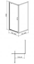 CERSANIT - Sprchový kout ARTECO čtverec 80x190, kyvný, čiré sklo (S157-009), fotografie 4/2