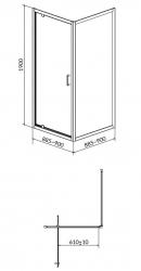 CERSANIT - Sprchový kout ARTECO čtverec 90x190, kyvný, čiré sklo (S157-010), fotografie 4/2