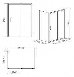 CERSANIT - Sprchový kout ARTECO obdélník 100x80x190, posuv, čiré sklo (S157-011), fotografie 8/4