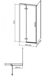 CERSANIT - Sprchový kout JOTA čtverec 90x195, kyvný, levý, čiré sklo (S160-001), fotografie 18/9
