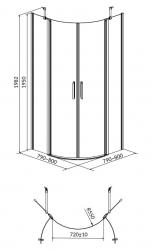 CERSANIT - Sprchový kout MODUO čtvrtkruh 80x195, kyvné, čiré sklo (S162-009), fotografie 2/7