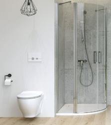 CERSANIT - Sprchový kout MODUO čtvrtkruh 80x195, kyvné, čiré sklo (S162-009), fotografie 4/7