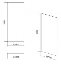 CERSANIT - Sprchová pevná boční stěna MODUO 90x195, čiré sklo (S162-008), fotografie 4/2