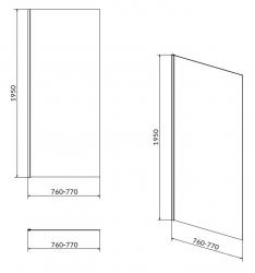 CERSANIT - Sprchová pevná boční stěna MODUO 80x195, čiré sklo (S162-007), fotografie 4/2