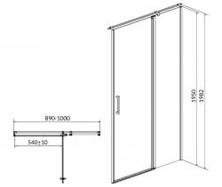 CERSANIT - Kyvné dveře s pevným polem MODUO 90x195, pravé, čiré sklo (S162-006), fotografie 10/5