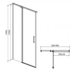 CERSANIT - Kyvné dveře s pevným polem MODUO 90x195, levé, čiré sklo (S162-005), fotografie 10/5
