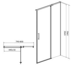 CERSANIT - Kyvné dveře s pevným polem MODUO 80x195, pravé, čiré sklo (S162-004), fotografie 10/5