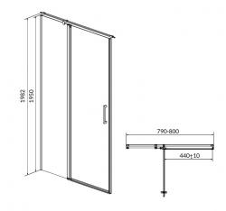 CERSANIT - Kyvné dveře s pevným polem MODUO 80x195, levé, čiré sklo (S162-003), fotografie 10/5