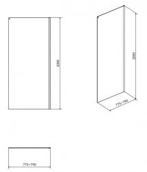 CERSANIT - Boční stěna k posuvným dveřím CREA 80x200, čiré sklo (S900-2613), fotografie 4/2