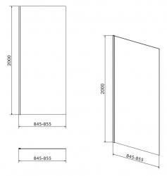 CERSANIT - Boční stěna CREA 90x200 pro kyvné dveře, čiré sklo (S159-010), fotografie 4/2