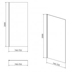 CERSANIT - Boční stěna CREA 80x200 pro kyvné dveře, čiré sklo (S159-009), fotografie 4/2