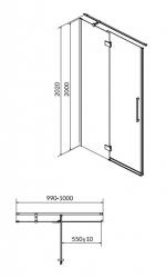 CERSANIT - Sprchové dveře s panty CREA 100x200, levé, čiré sklo (S159-001), fotografie 14/7