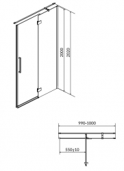CERSANIT - Sprchové dveře s panty CREA 100x200, pravé, čiré sklo (S159-002), fotografie 12/6