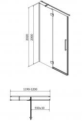 CERSANIT - Sprchové dveře s panty CREA 120x200, levé, čiré sklo (S159-003), fotografie 18/9