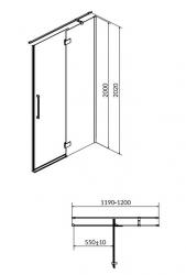 CERSANIT - Sprchové dveře s panty CREA 120x200, pravé, čiré sklo (S159-004), fotografie 18/9
